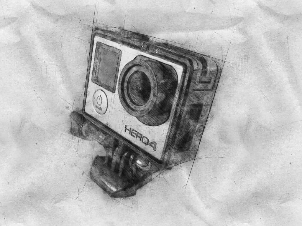 Desenho estilizado de uma GoPro Hero 4