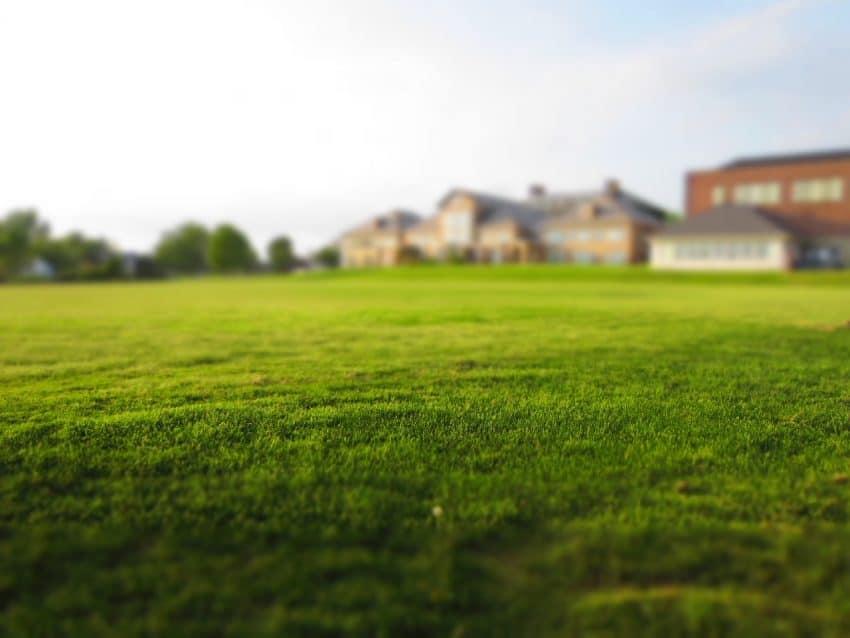 foto mostrando grande área com gramado e casas ao fundo.