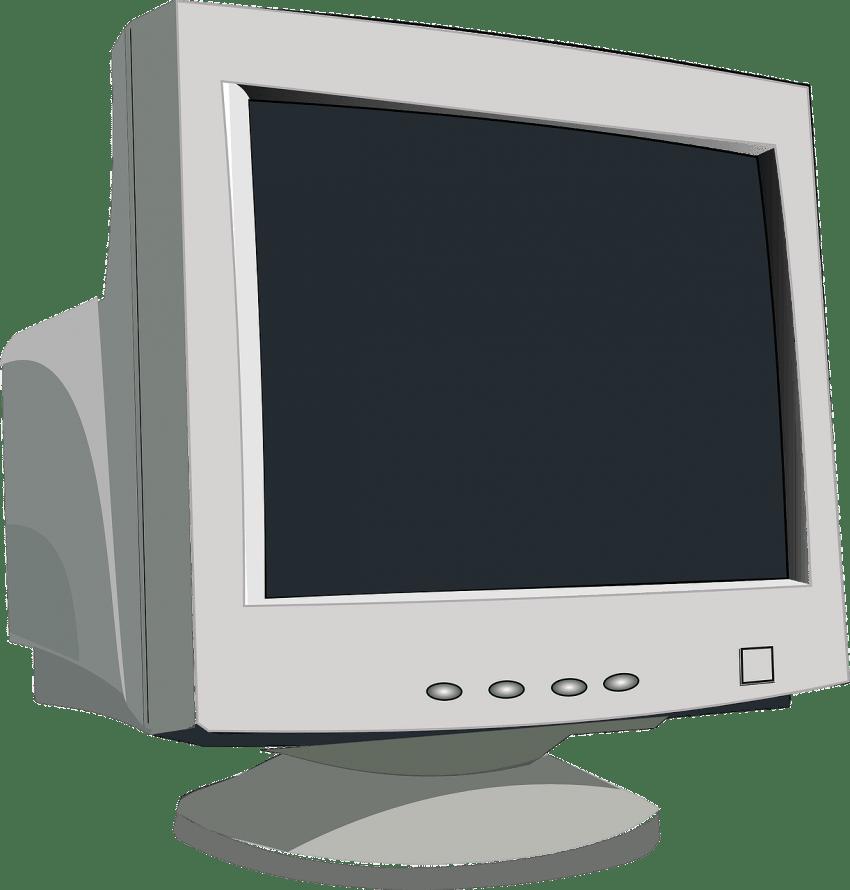 Imagem mostra ilustração de um modelo de monitor de computador CRT.