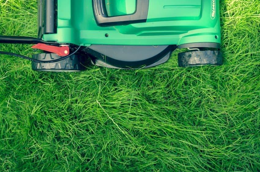 Imagem mostra cortador de grama com destaque para as suas rodas.