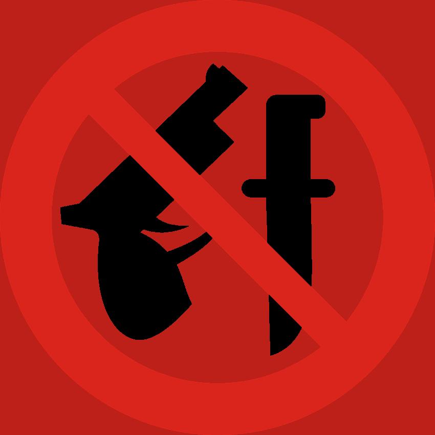 Imagem mostra placas indicativas de proibição de uso de armas e facas.