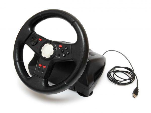magem mostra um volante para PC preto.