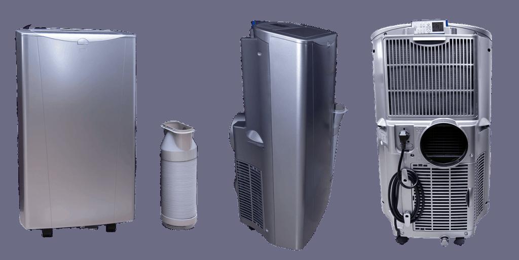 Imagem mostra um ar condicionado portátil, o seu tubo extensor e a parte traseira dele