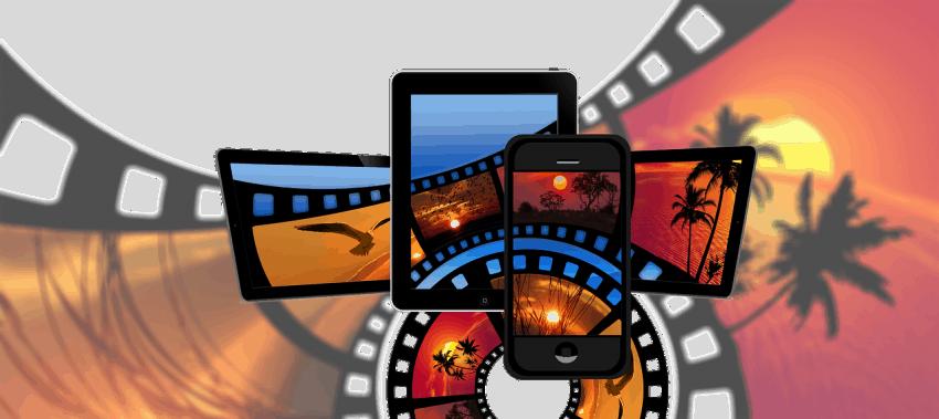 Imagem mostra película de um filme ao fundo, com destaque a telas de smartphone, tablet e telas menores de televisão.