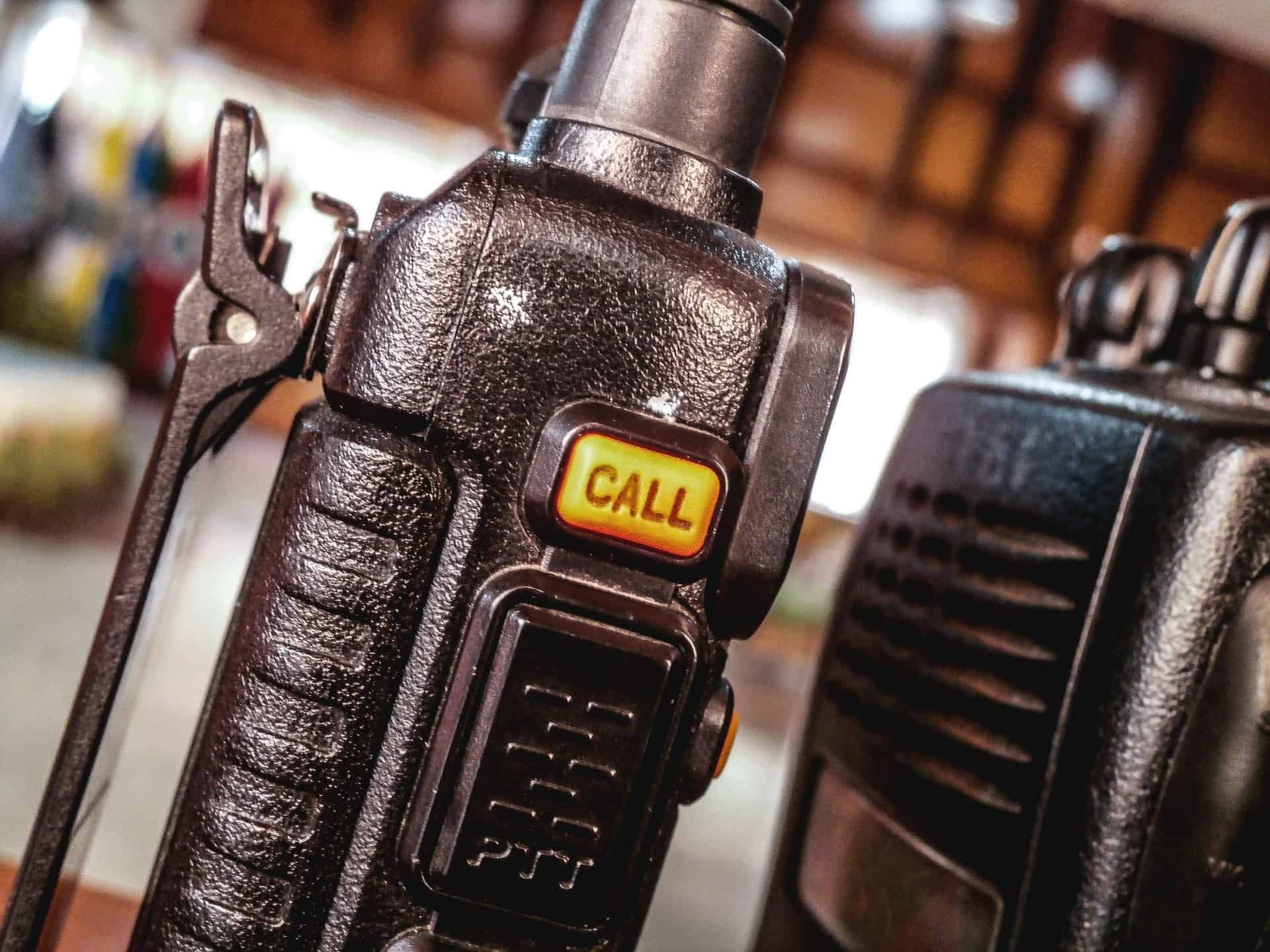 Close-up image of radio communicators.