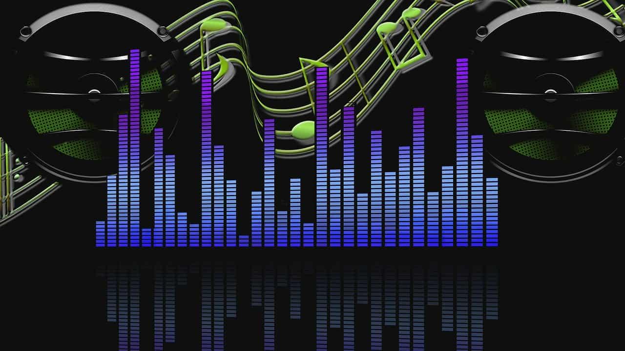Barras de medição de áudio. Ao fundo, caixas de som e notas musicais.
