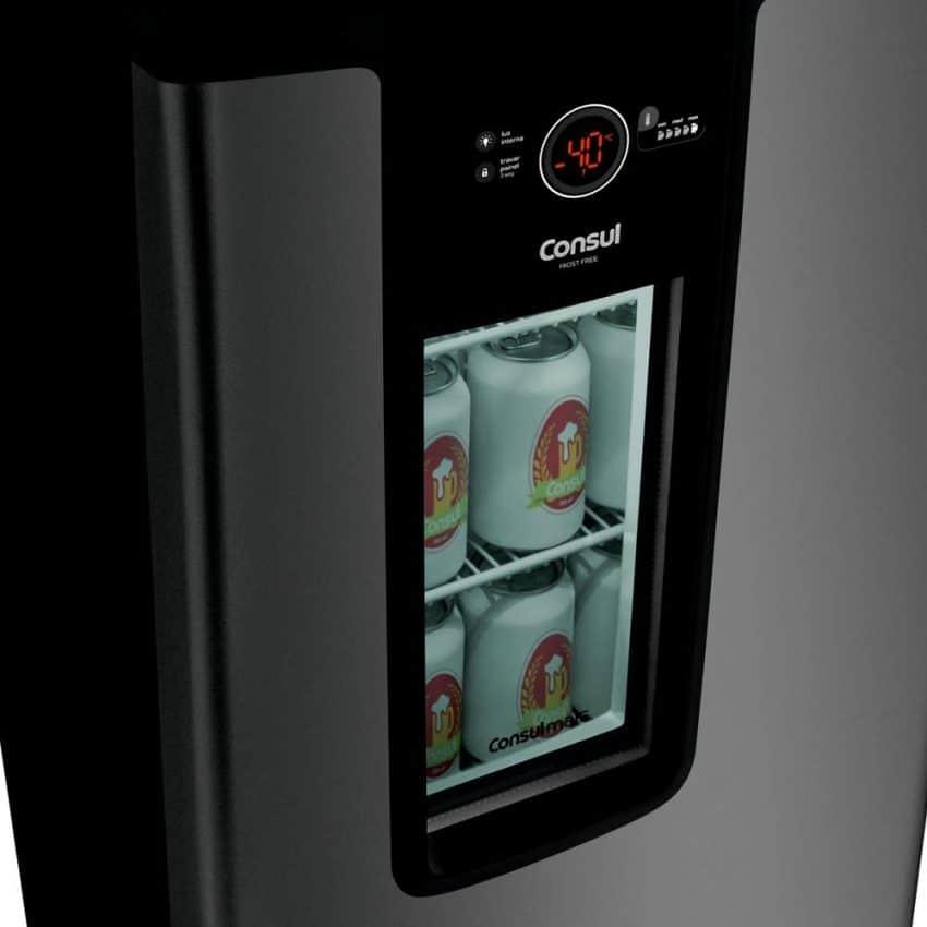 Cervejeira com porta de vidro e display com temperatura