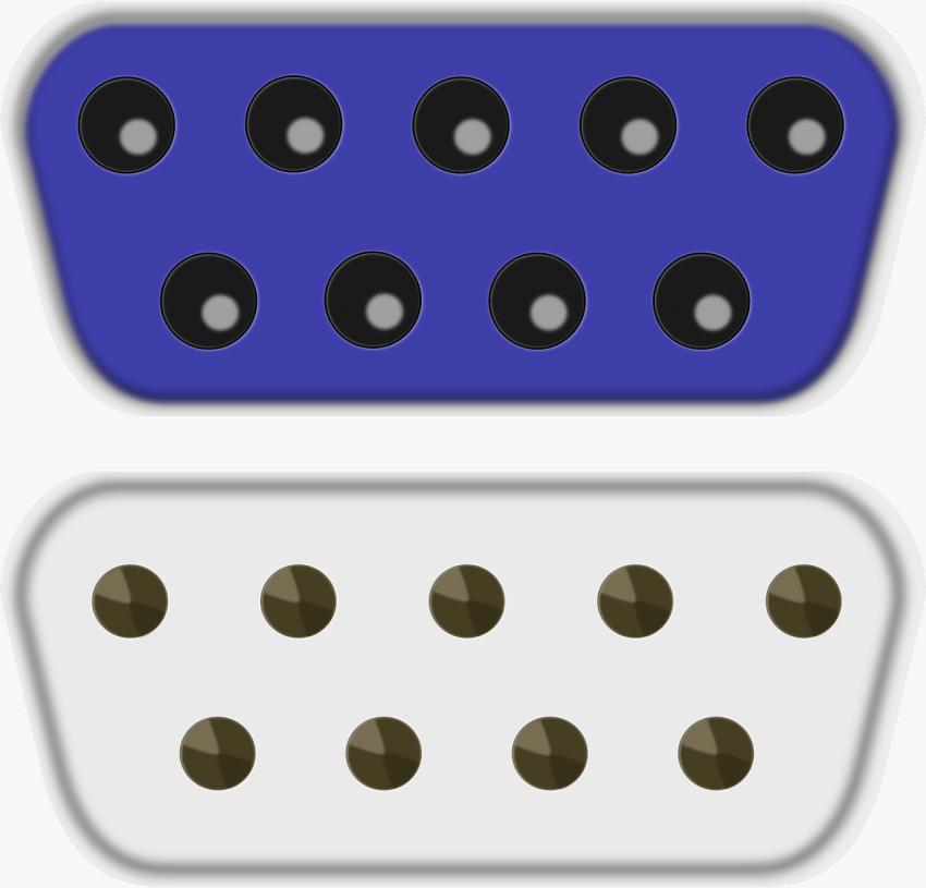 Imagem das conexões de um cabo VGA fêmea e um macho, respectivamente.