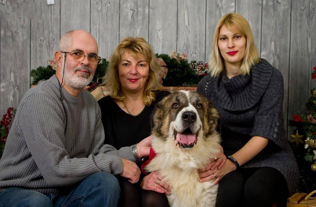 família com cachorro posando para foto oficial de Natal