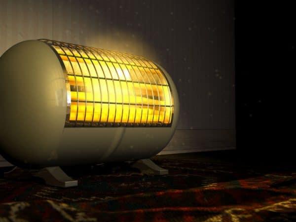 Imagem de aquecedor elétrico ligado.