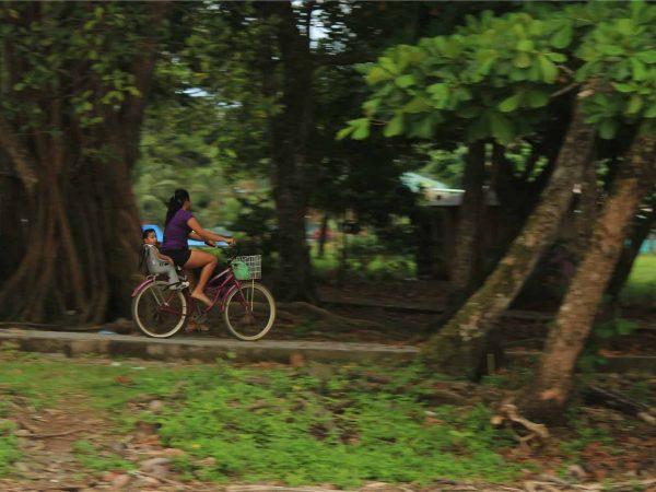 Imagem de uma mulher passeando de bicicleta no parque com uma criança sentada em uma cadeirinha traseira.