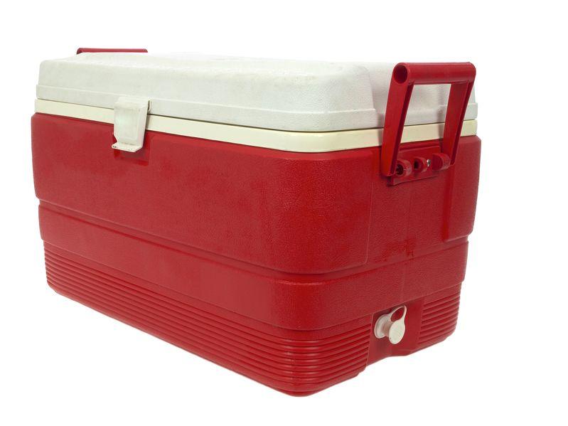 Caixa térmica vermelha, com tampa branca e duas alças laterais.