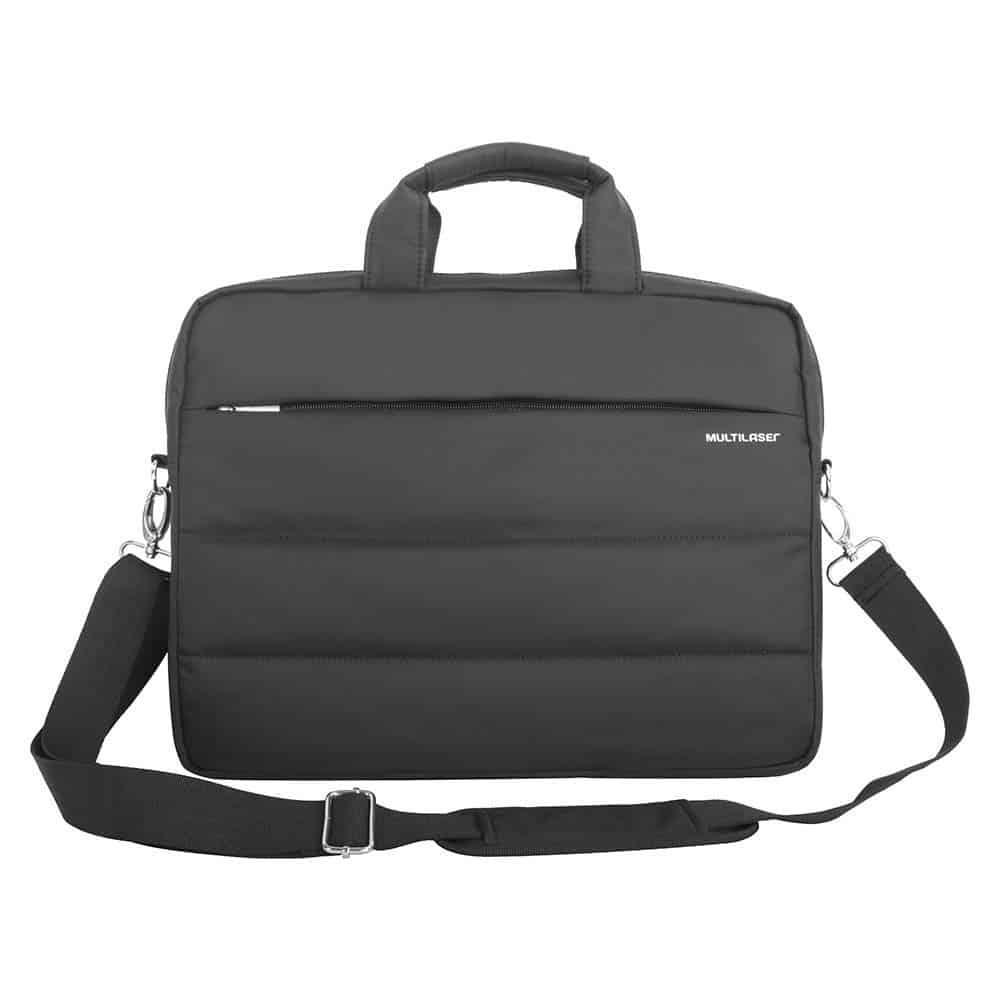 Capa para notebook preta tipo maleta com o fundo branco.