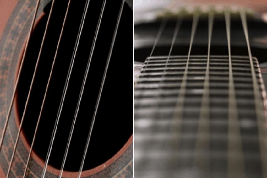 Imagem dividida em duas: violão com cordas de nylon à esquerda e de aço à direita.