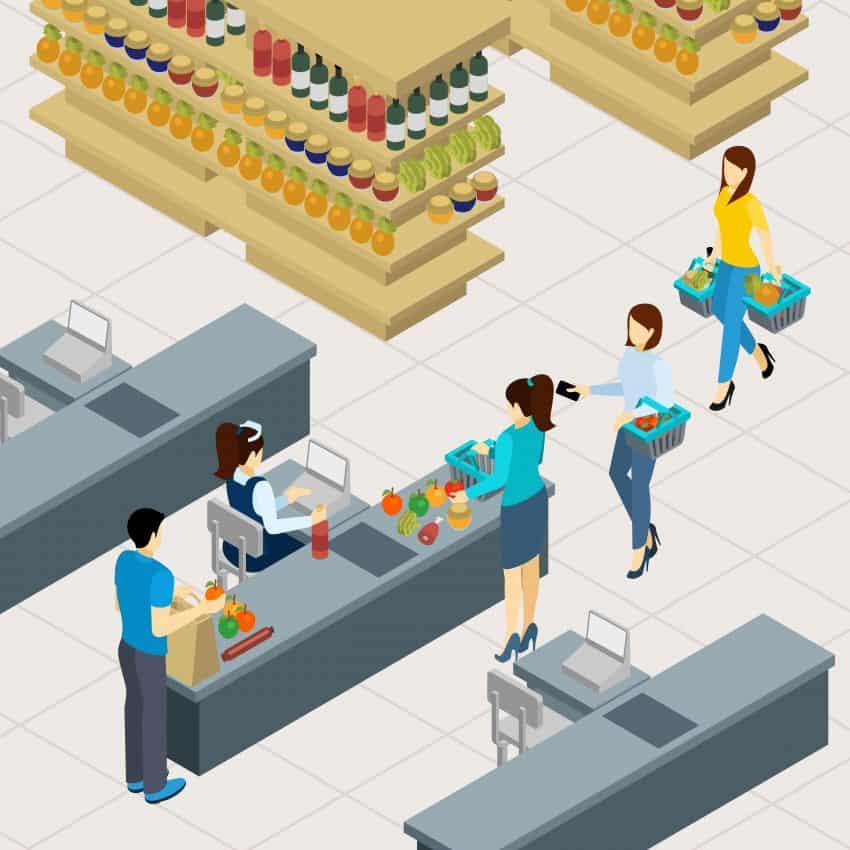 Ilustração de uma fila de supermercado formada por três mulheres carregadas de compras e a caixa realizando o atendimento.