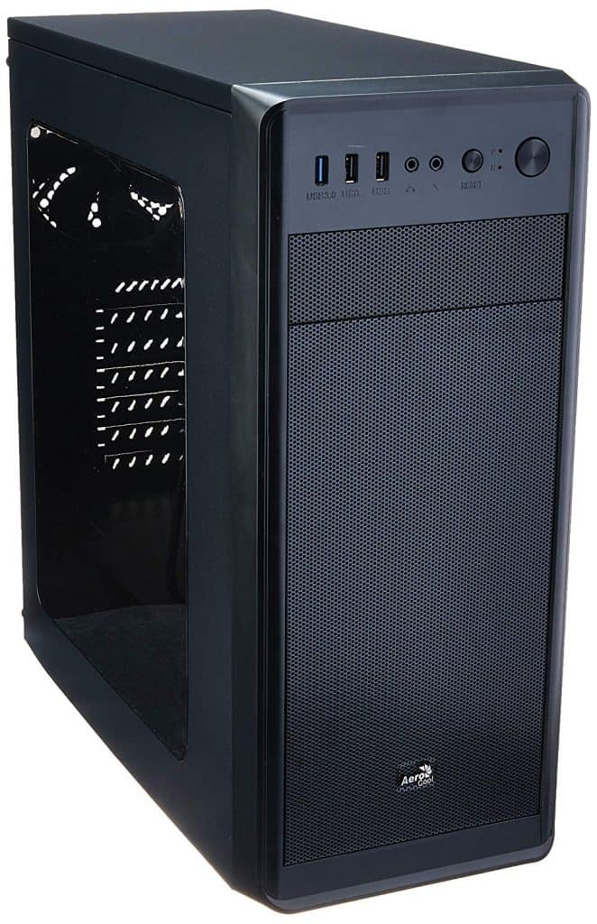 Image shows a black gamer case