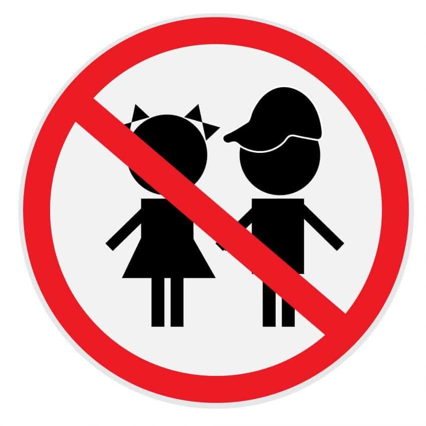 Sinal de proibido para crianças em vetor.