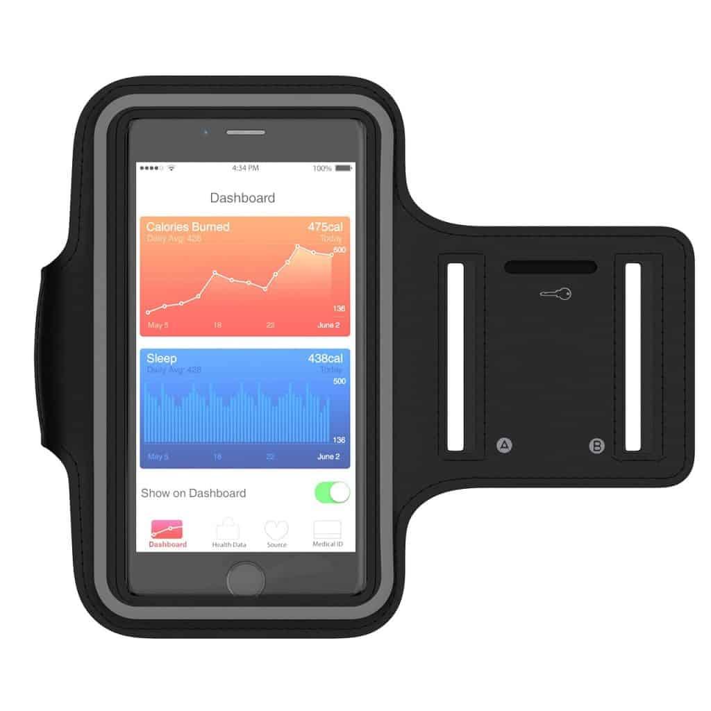 Braçadeira para celular na cor preta, com proteção de tela transparente.