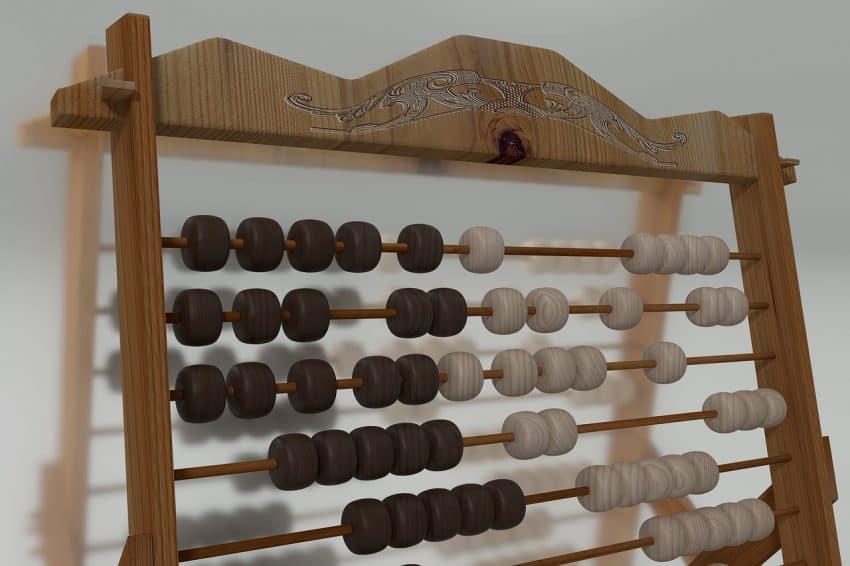 Ábaco horizontal de madeira com contas pretas e brancas.