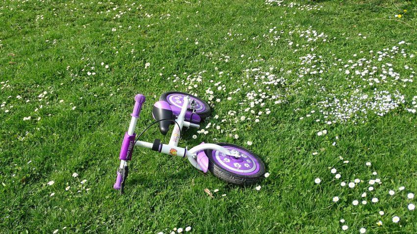 Imagem de uma bicicleta sem pedal caída sobre um gramado.
