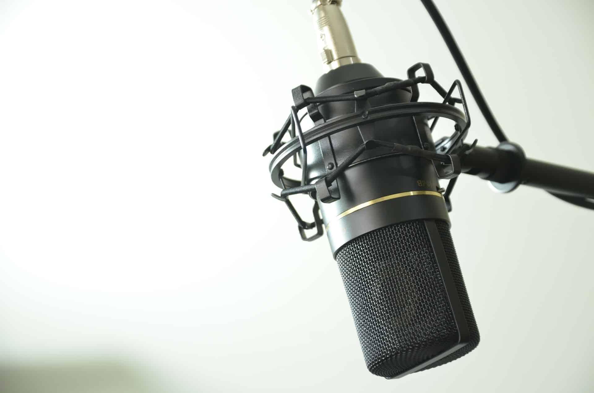 Imagem de um microfone condensador.