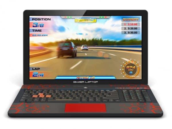 Imagem mostra um notebook gamer preto em fundo branco.