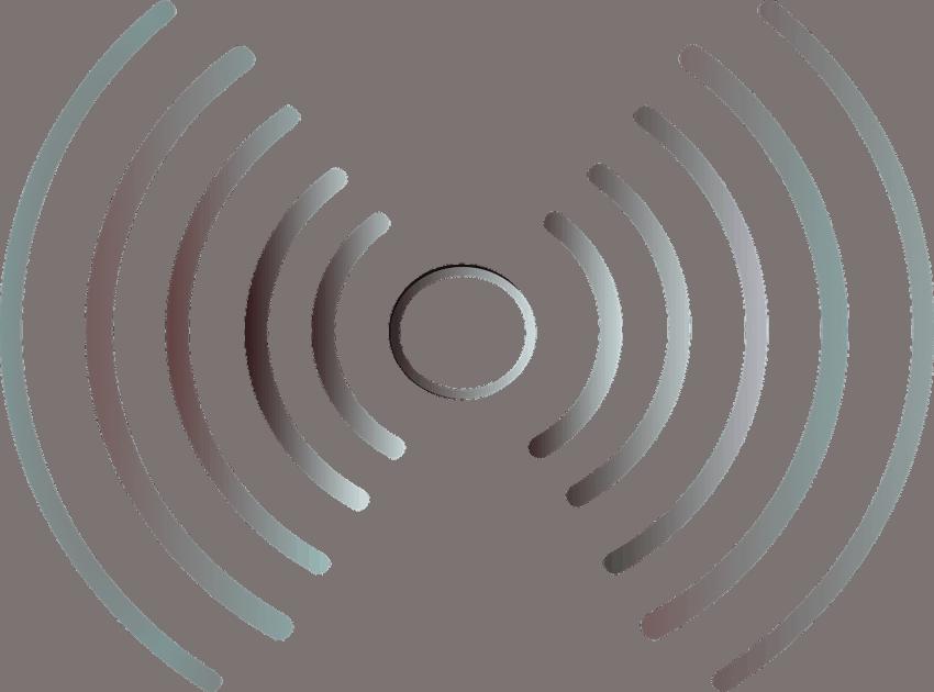 Figura simulando ondas de rádio emitidas a partir de um ponto, simbolizando o dispositivo bluetooth.