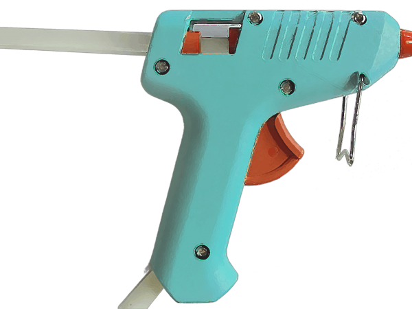 Uma pistola de cola quente.