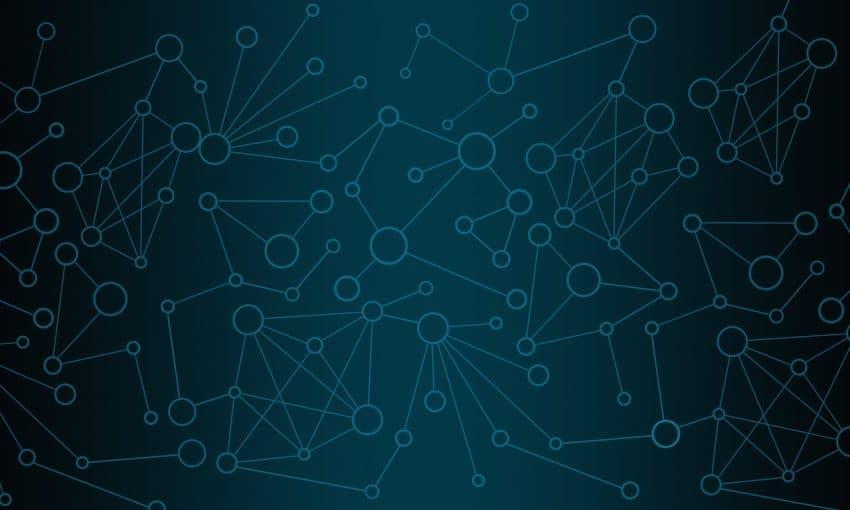 Imagem com círculos e linhas conectados, enfatizando a possibilidade de um sistema de redes conectado via bluetooth.