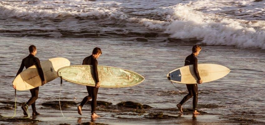 Três jovens surfistas entram no mar segurando suas pranchas de diferentes modelos e tamanhos.