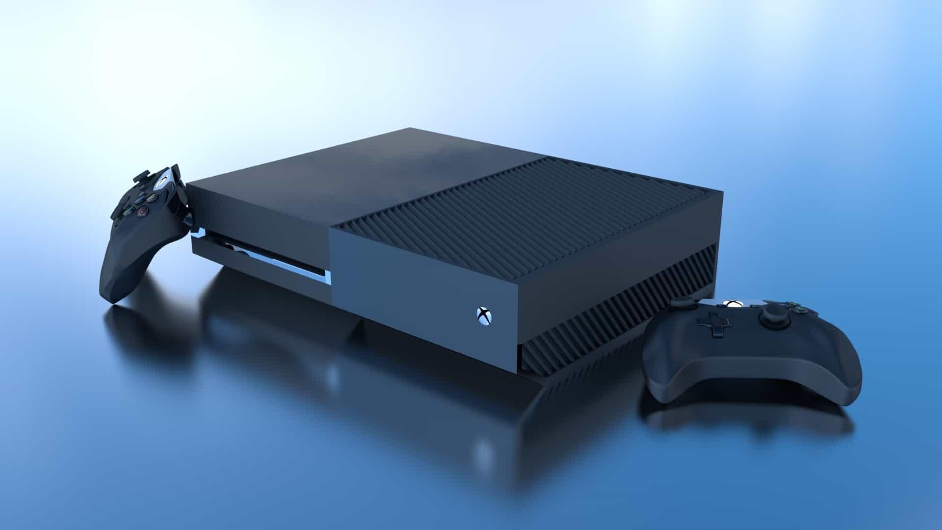 Imagem de Xbox One preto com dois controles pretos em fundo azul