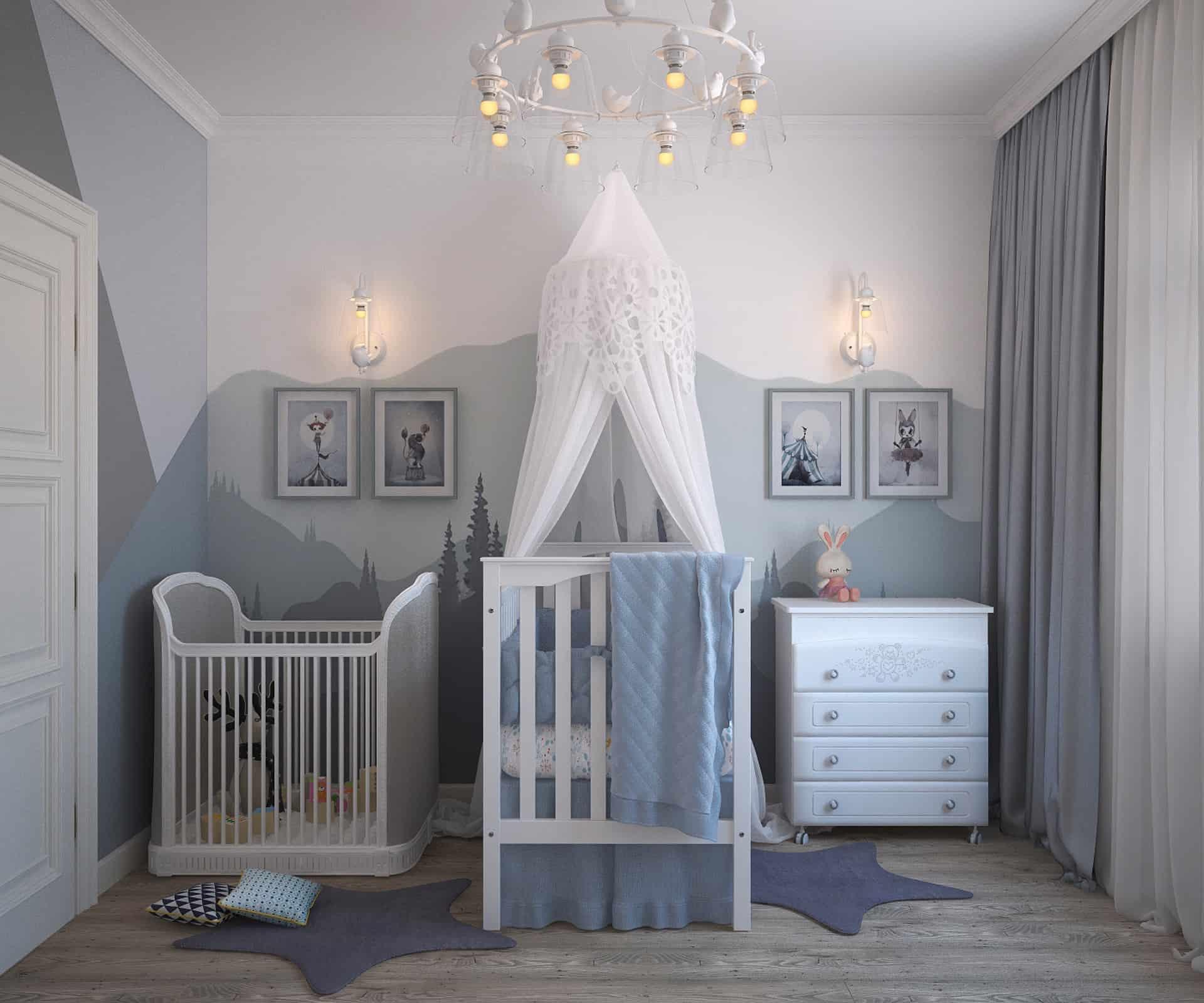 Na foto um quarto de bebê em nas cores cinza e azul com berço, cômoda e chiqueirinho.