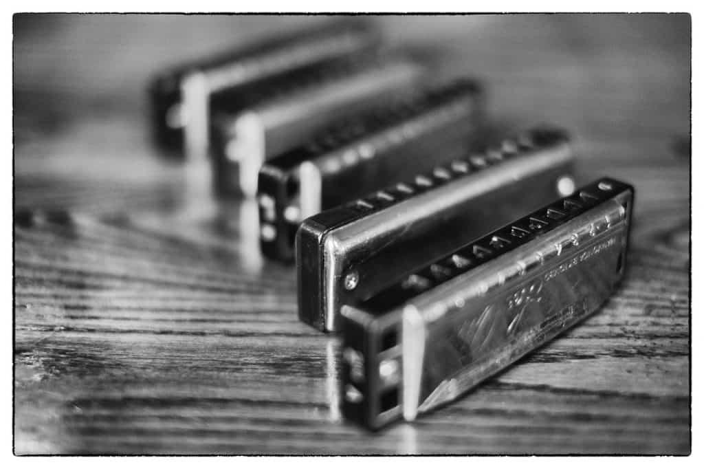 5 gaitas de boca em cima de uma mesa em uma fotografia em preto e branco.