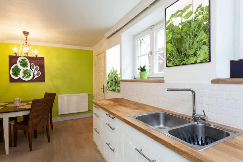 Imagem de uma torneira de bancada na pia em cozinha decorada.
