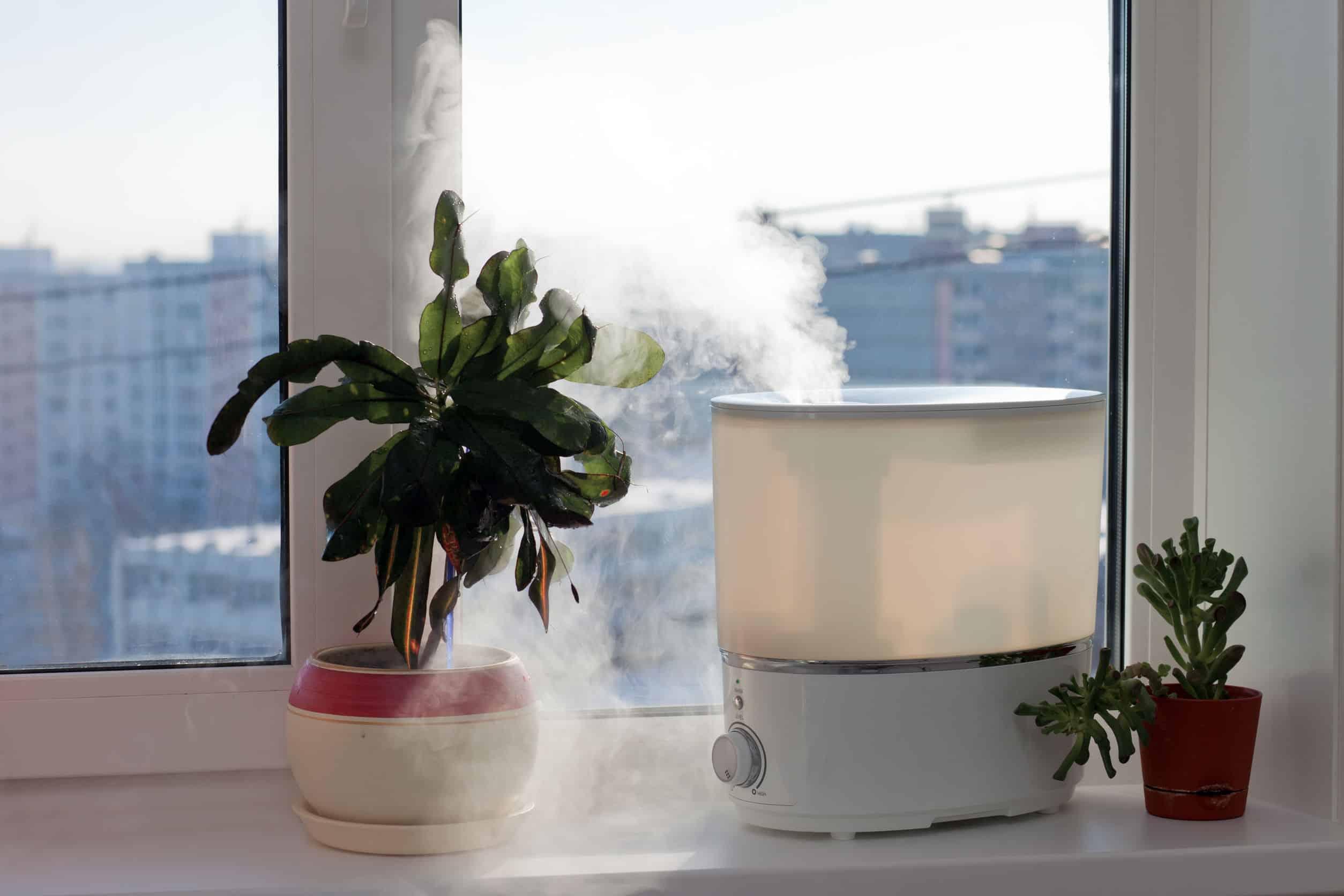 Umidificador de ar proximo a janela.