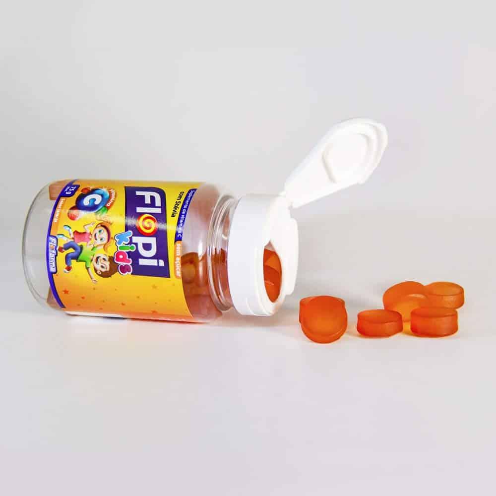 Imagem de um suplemento de vitamina C em bala de gelatina