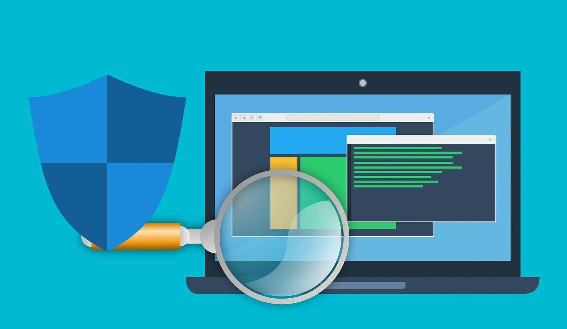 Ilustração mostra uma lupa analisando uma tela de computador.