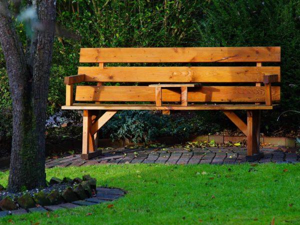 Imagem de um banco de madeira, com dois lugares, em um jardim.