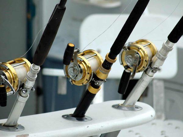 Varas de pesca apoiadas em uma base fixa, com as carretilhas instaladas na base de cada uma.