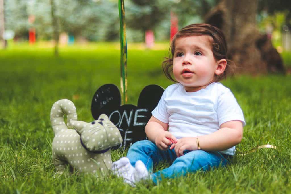 Na foto uma bebê sentada em um gramado com um gato de pelúcia e uma plaquinha ao lado.