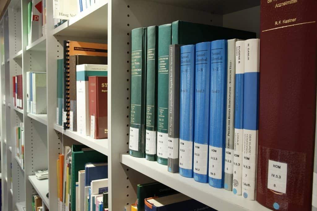 Imagem de estante de madeira com livros.