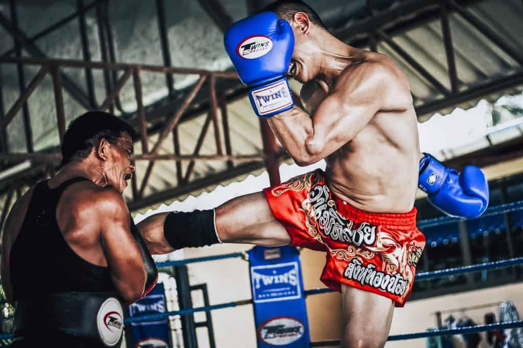 Imagem mostra dois lutadores de Muay Thai em um ringue.