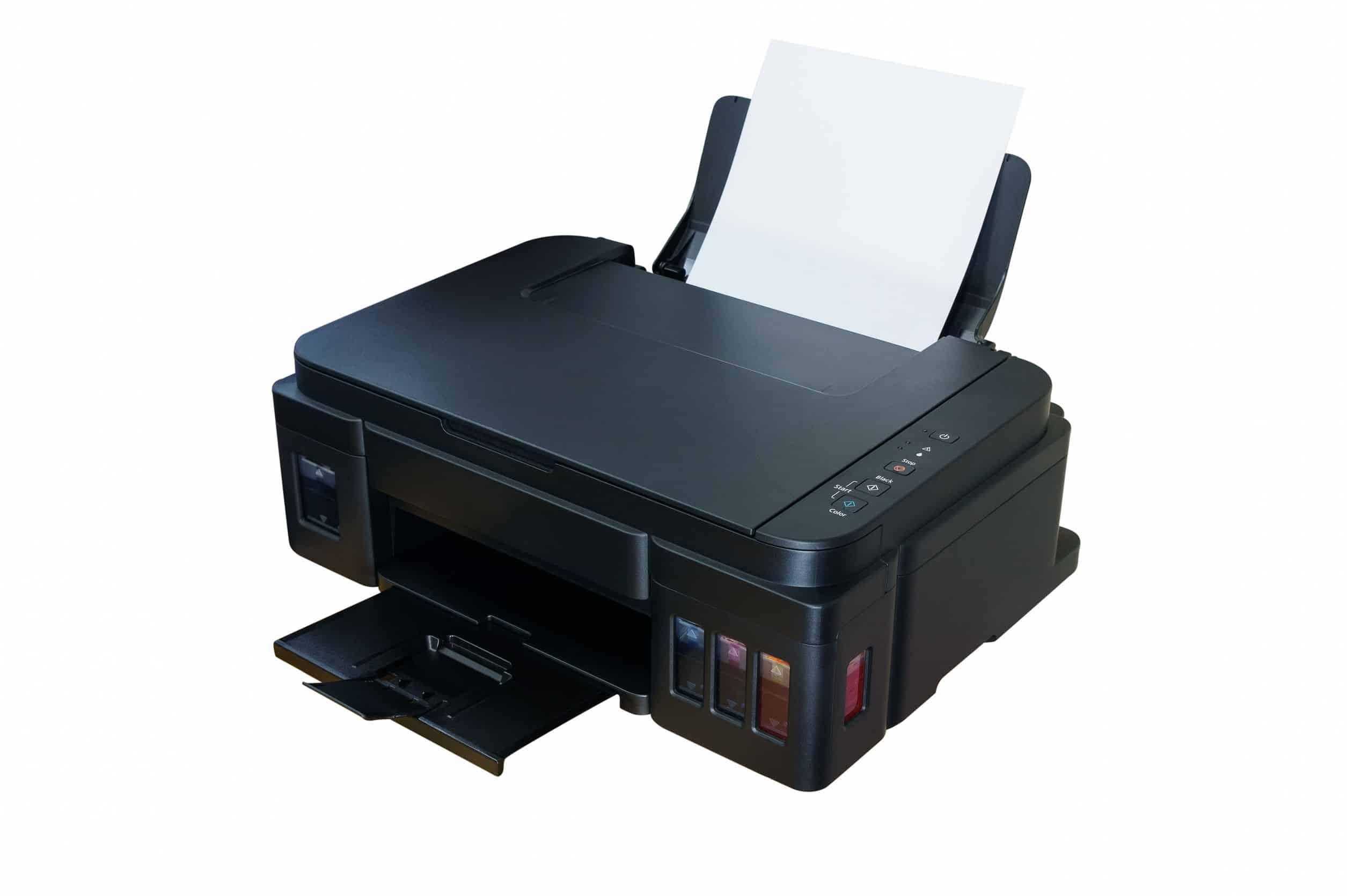 Impressora tanque de tinta com fundo branco.