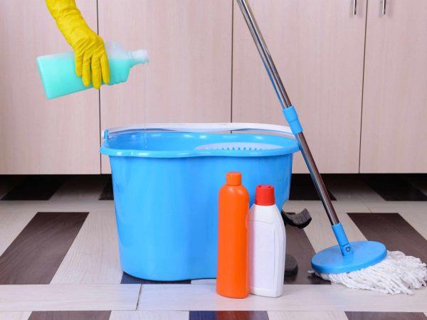 Imagem de kit mop: balde e esfregão e produtos de limpeza ao lado.