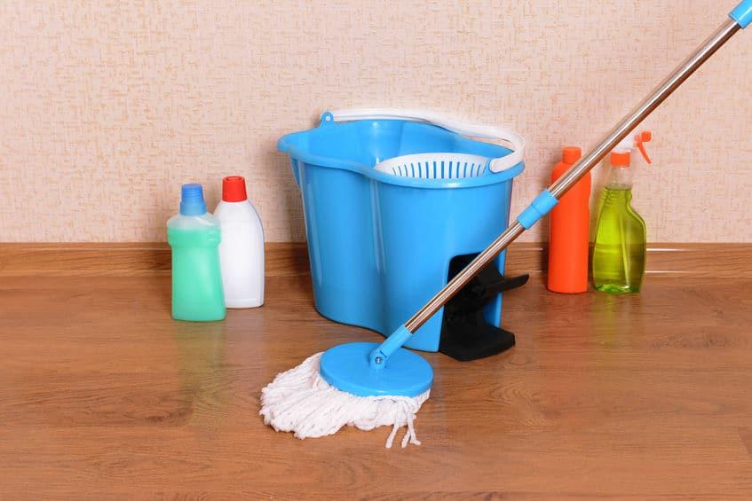 Imagem de mop com pedal e outros produtos de limpeza ao redor.