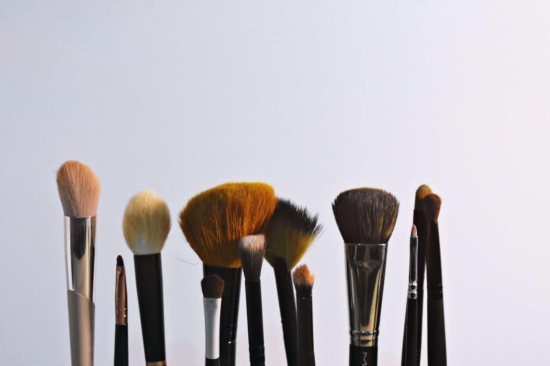 Foto de 12 pincéis de maquiagem, um ao lado do outro, todos de diferentes tipos.