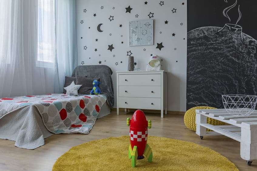 Space themed children's room image.