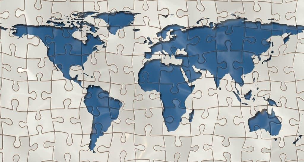 Quebra-cabeça do Mapa Mundi.