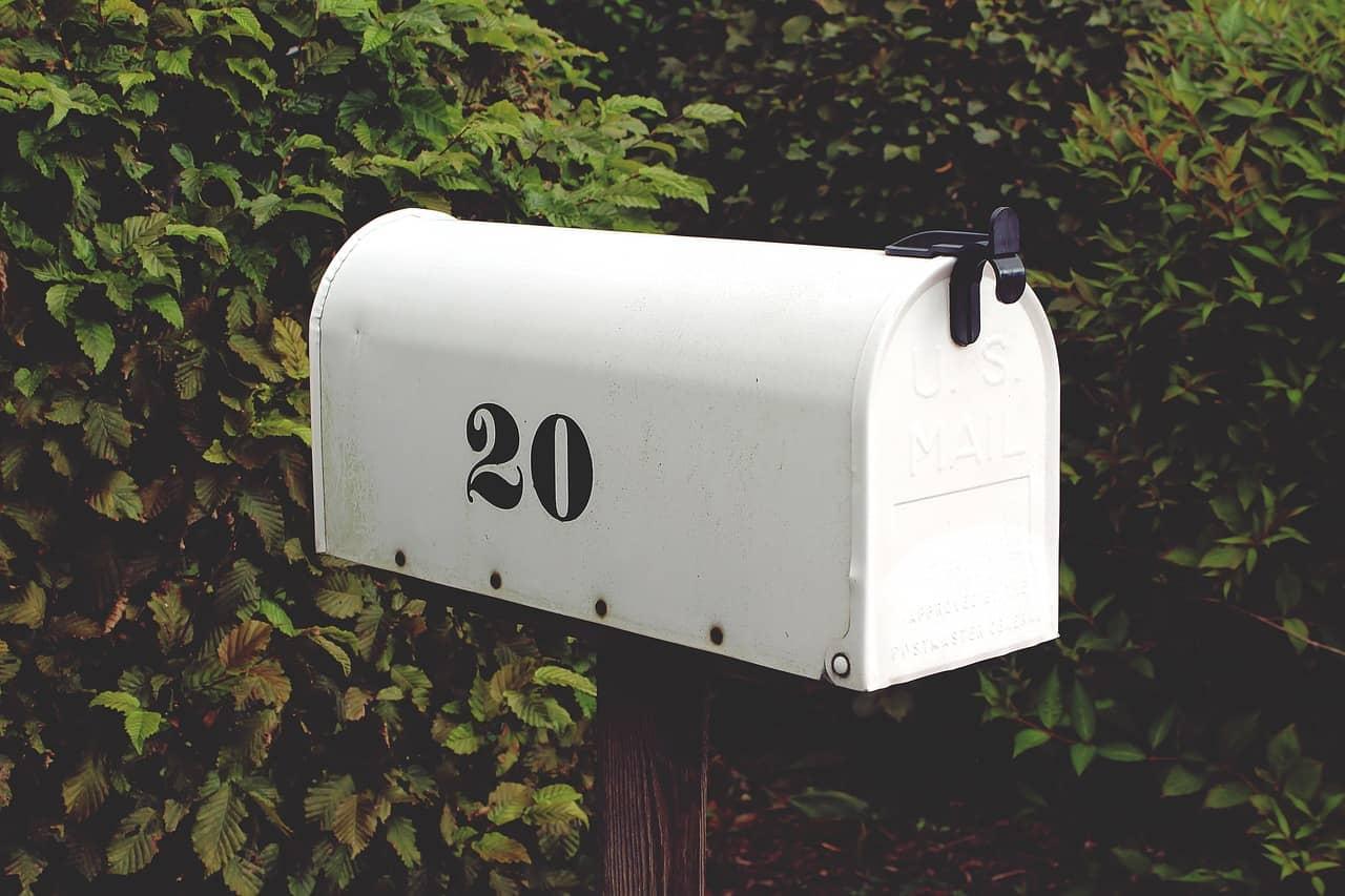 Caixa de correio branca em frente a folhagens.
