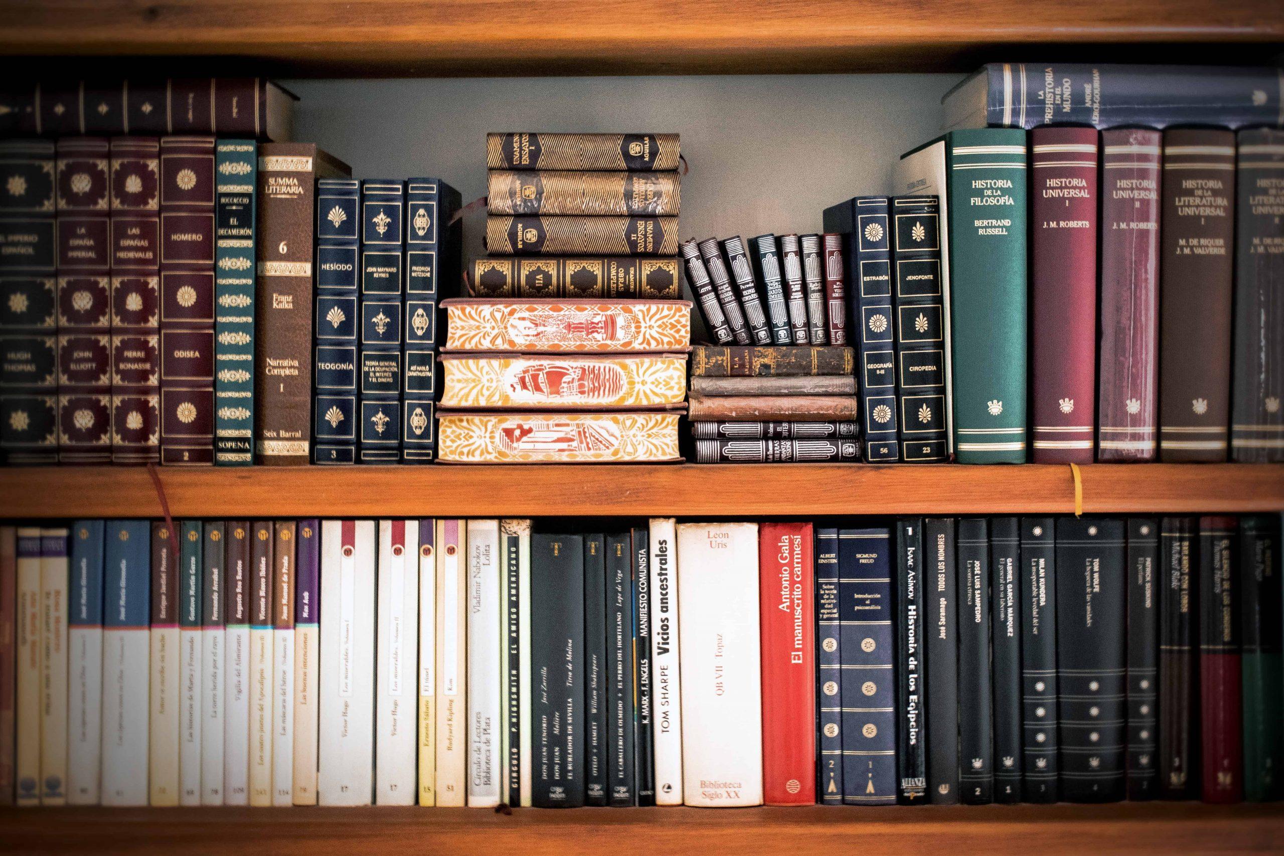 Livros em prateleiras.